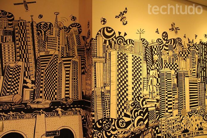 Detalhe do espaço social dentro do Google. A cidade de São Paulo foi inspiração para o escritório (Foto: Leonardo Ávila/TechTudo)