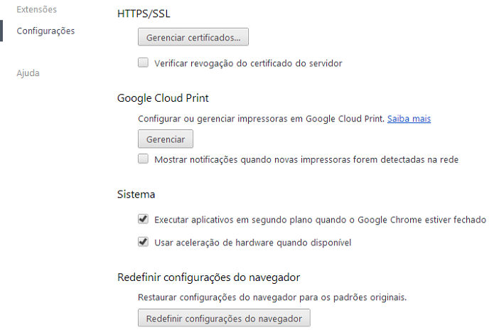 É possível reiniciar configurações no Chrome (Foto: Thiago Barros Reprodução)