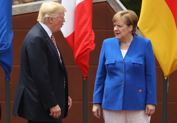 Donald Trump e Angela Merkel (Foto: Sean Gallup/Getty Images)