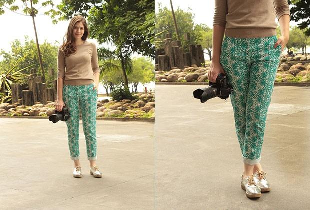 CONFORT FASHION: a fotógrafa Ana Trentini combinou sua calça estampada Renner com creeper metalizados (Foto: Henrique Padilha)