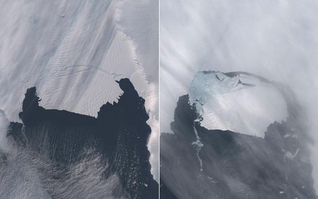 Fotos tiradas em 28 de outubro (esquerda) e 13 de novembro de 2013 (direita) mostram o iceberg se soltando do glaciar Pine Island (Foto: Nasa/Reuters)