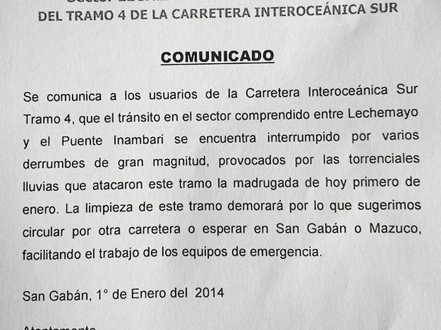 Comunicado aos turistas sobre deslizamentos no Peru (Foto: Eliane Sinhasique/Arquivo pessoal)