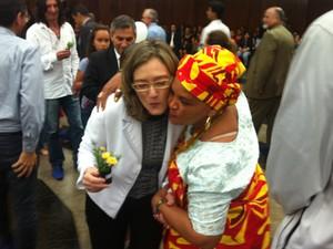 A ministra Maria do Rosário (esq.) no lançamento do Comitê de Combate à Intolerância Religiosa (Foto: Renan Ramalho / G1)