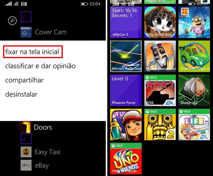 Windows Phone 8.1 Update 1 traz ferramenta nativa para criar pastas na tela inicial do telefone (Foto: Reprodução/Elson de Souza)