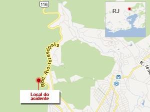 Mapa da região do acidente com ônibus na Rio-Teresópolis (BR-116) (Foto: Editoria de Arte / G1)