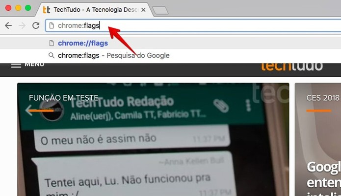 Acesse a página do Chrome Flags (Foto: Reprodução/Helito Bijora)