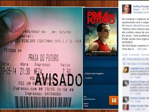 Carimbo de 'avisado' em ingresso de cinema gera polêmica na Paraíba (Foto: Reprodução/Facebook.com)