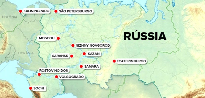 INFO Mapa Rússia sedes Copa do Mundo 2018 (Foto: Editoria de Arte)