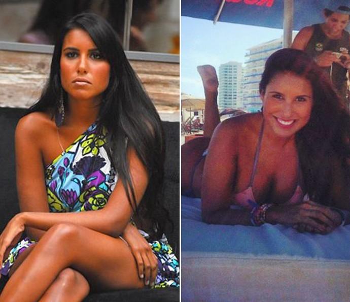 Carolini segue linda, morena e com cabelão (Foto: Tv Globo e Reprodução da Internet)