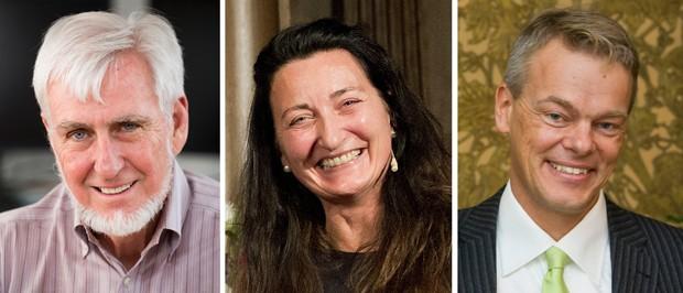 Foto mostra John O'Keefe (esq.), May-Britt Moser (centro) e Edvard Moser, vencedores do Nobel de Medicina de 2014 (Foto:  AP Photo/UCL, dpa, Scanpix Sweden)