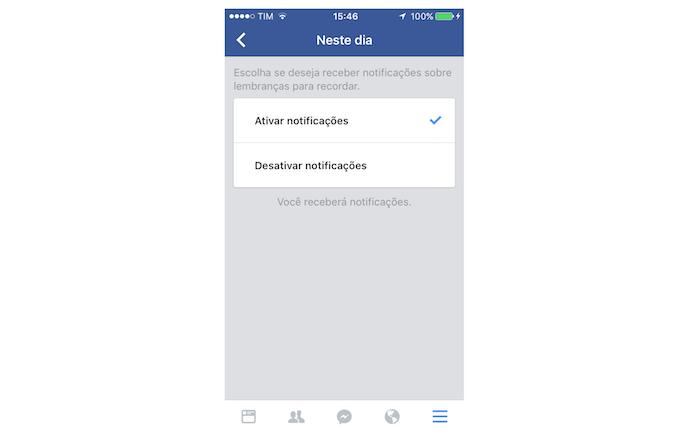 Opções para notificações da função Neste Dia do Facebook para iPhone (Foto: Reprodução/Marvin Costa)