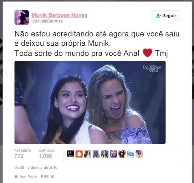 Família de Munik comenta saída de Ana Paula (Foto: Twitter / Reprodução)