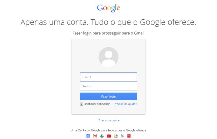 Página de login da conta no Google (Foto: Reprodução/Lívia Dâmaso)