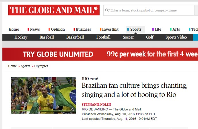 Matéria do jornal canadense 'The Globe and Mail'