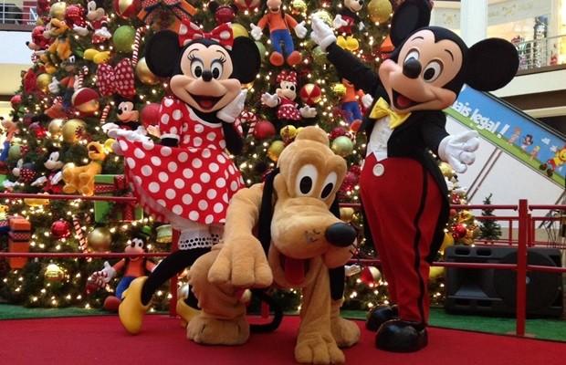 Mickey, Minnie e Pluto animam os visitantes do Goiânia Shopping (Foto: Divulgação)
