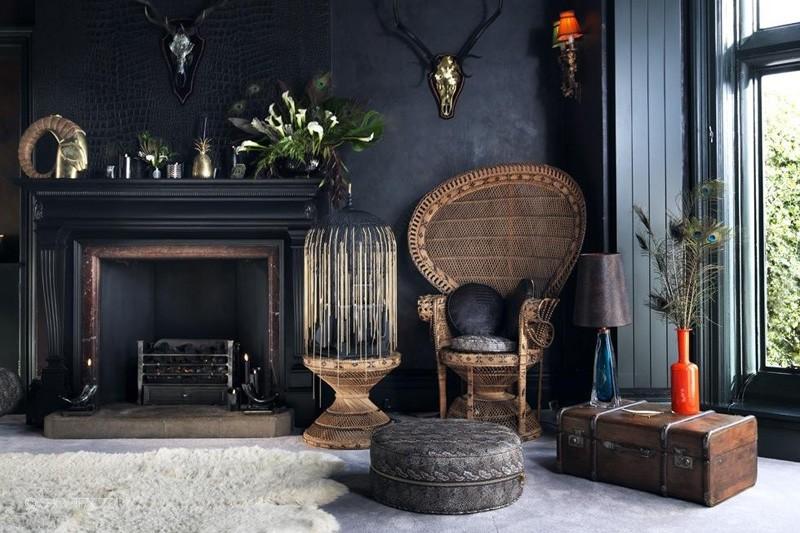 Sala De Estar Com Moveis Rusticos ~ Décor do dia sala de estar com paredes pretas e móveis rústicos