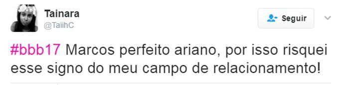 tweet sobre Marcos - ariano (Foto: Twitter @TaiihC)