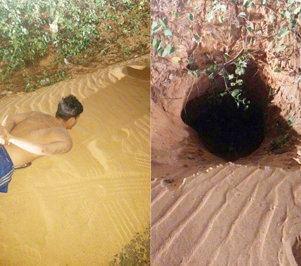Buraco foi encontrado aberto do lado de fora do presídio e um detento recapturado (Foto: PM/Divulgação) (Foto: PM/Divulgação)