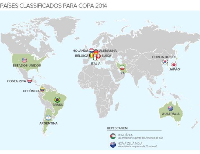 14 países classificados para a Copa - 690 (Foto: GLOBOESPORTE.COM)