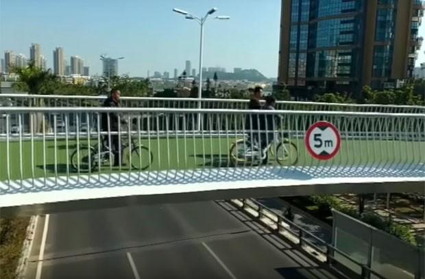 Maior ciclovia suspensa do mundo tem 7 km de extensão (Foto: Reprodução/Youtube)