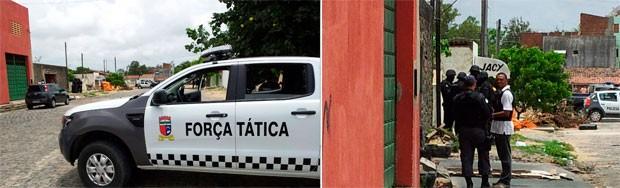Suspeitos mantém reféns dentro de um oficina em Parnamirim (Foto: Henrique Dovalle/Inter TV Cabugi)