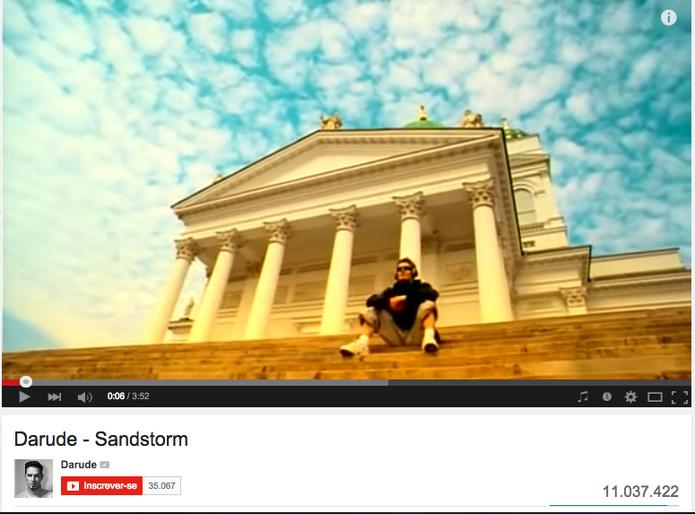 Longe de ser um dos vídeos mais vistos do YouTube, a música Sandstorm é um fenômeno quando se fala em trilha sonora na plataforma (Foto: Reprodução/ YouTube)