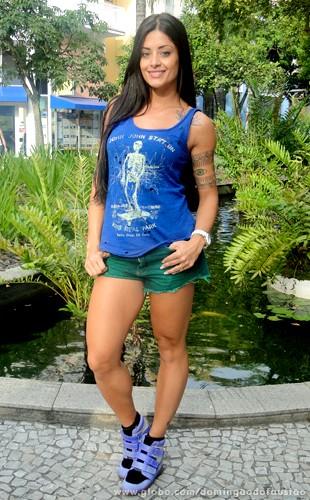 Aline Riscado tem um corpo escultural! (Foto: Domingão do Faustão / TV Globo)