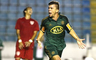 Chico comemora gol do Palmeiras contra o Desportivo Brasil, Copa SP (Foto: Marcos Bezerra / Agência Estado)
