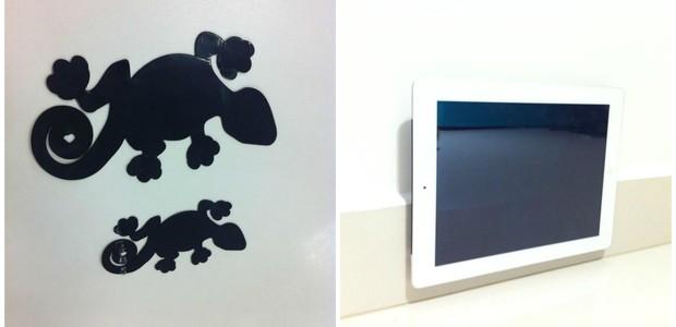 Redação ÉPOCA (Foto: À esquerda, Lizzy Tape nos tamanhos para tablet e smartphone. Na imagem da direita, a fita sendo usada contra azulejo)