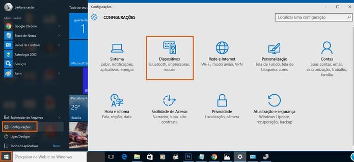 Acesse as configurações do notebook com Windows 10 (Foto: Reprodução/Barbara Mannara)