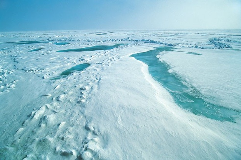 Imagem mostra região do Ártico. Segundo a Agência Espacial Europeia, camada de gelo marinho no outono deste ano aumentou 50% em relação a 2012 (Foto: Divulgação/ESA)