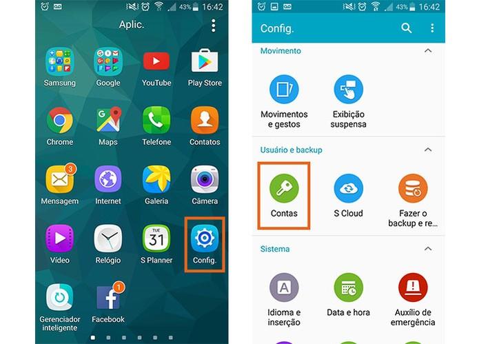 Acesse as configurações do celular ou tablet Android e abra as suas contas (Foto: Reprodução/Barbara Mannara)