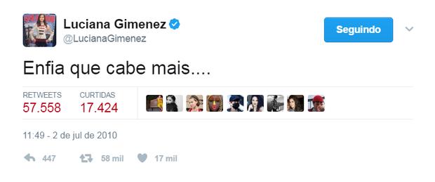 Luciana Gimenez no Twitter (Foto: Reprodução/Twitter)