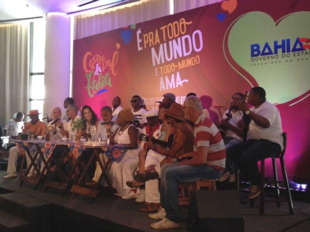 Nomes foram divulgados em coletiva com nomes do samba (Foto: Henrique Mendes / G1)