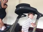 Priscila vai a academia com o filho: 'Família maromba'