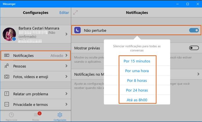 Ative o modo de não perturbe para silenciar notificações no Messenger para PC (Foto: Reprodução/Barbara Mannara)
