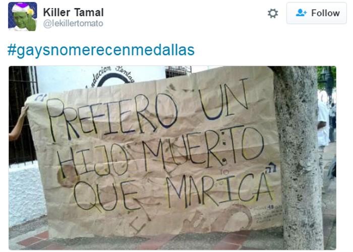 """""""Prefiro um filho morto do que gay"""", diz mensagem de usuário (Foto: Reprodução/Twitter)"""