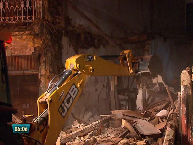 Demolição de casarão na Rua da Glória (Foto: Reprodução/TV Globo)