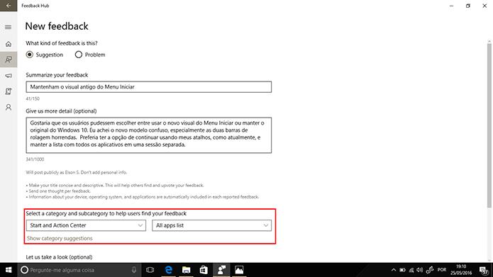 Feedback deve ser adicionado em categorias e subcategorias para facilitar identificação (Foto: Reprodução/Elson de Souza)