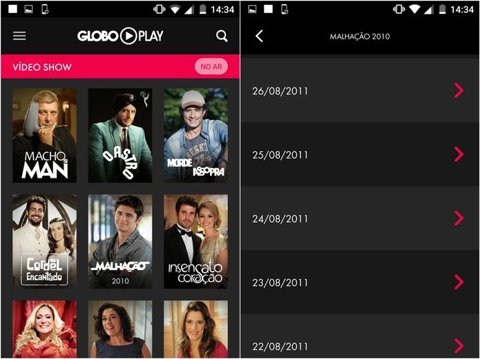 Escolha o programa e o dia do episódio que você pretende assistir (Foto: Reprodução/Lucas Mendes)