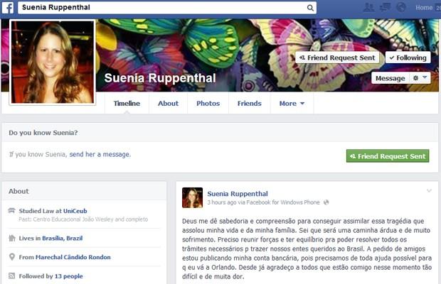 Reprodução de perfil em rede social de irmã de mulher morta nos Estados Unidos (Foto: Reprodução)