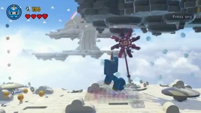 Destrua essa nuvem com tons de arco-íris para criar uma plataforma de lançamento (Foto: Reprodução: GameInformer)