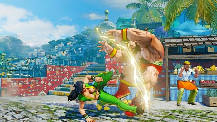 Street Fighter 5: V-Skill de Laura dá acesso ao Volty Line, que deve ser defendido em pé (Reprodução/Youtube)