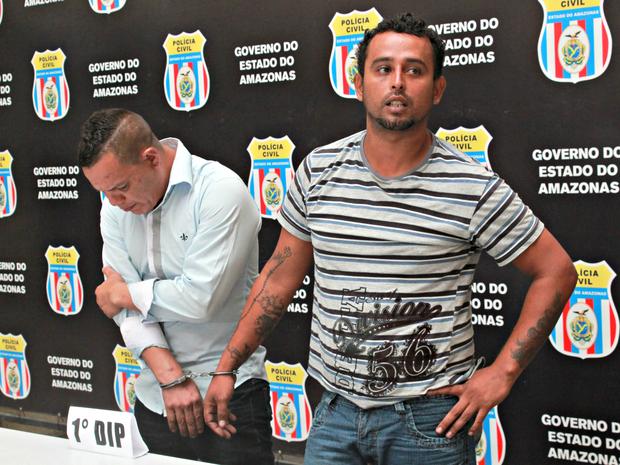 Gilson,  à esquerda, e Diego foram apresentados nesta sexta-feira (5) (Foto: Jamile Alves/ G1 AM)