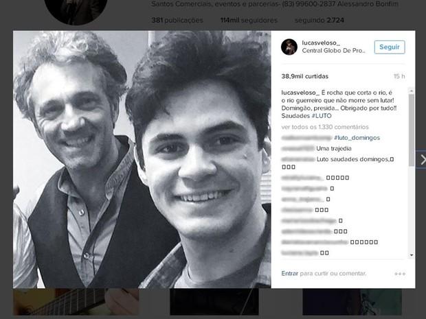 Lucas Veloso, o 'Lucas' da novela, prestou homenagem a Montagner no Instagram (Foto: Reprodução/Instagram/lucasveloso_)