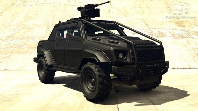 O HVY Insurgent também conta com uma metralhadora na parte traseira enquanto oferece mais proteção (Foto: Reprodução/GTA-Series)