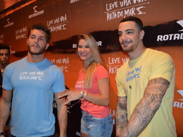 Klebber Toledo, Andressa Suita e Felipe Titto em evento de moda no Recife (Foto: Felipe Souto Maior/ Ag. News)