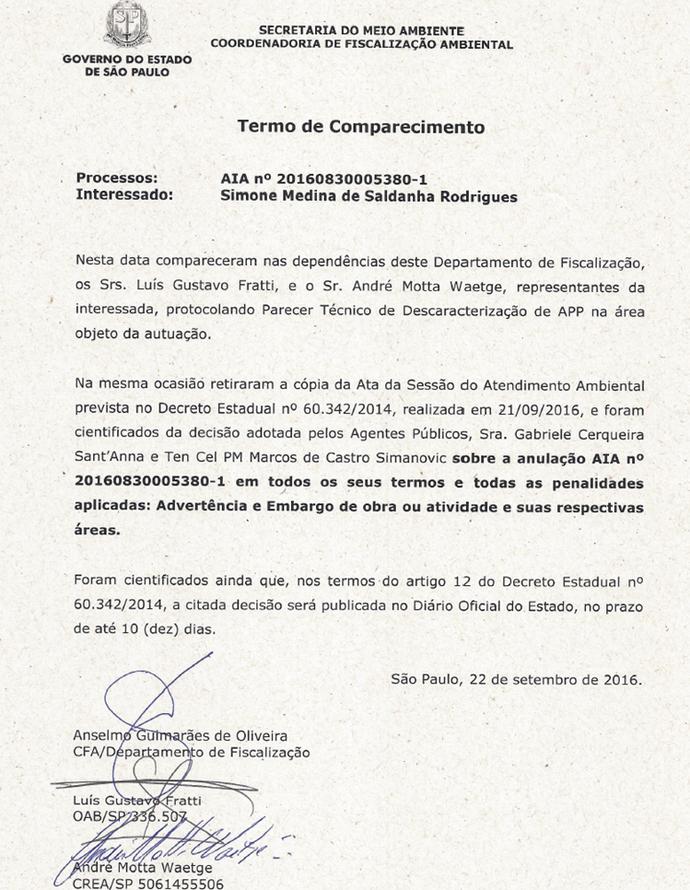 Laudo liberação construção Instituto Gabriel Medina (Foto: Reprodução)