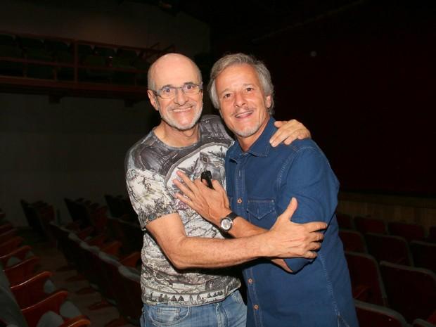 Marcos Caruso e Marcello Novaes em estreia de peça na Zona Sul do Rio (Foto: Cleomir Tavares/ Divulgação)