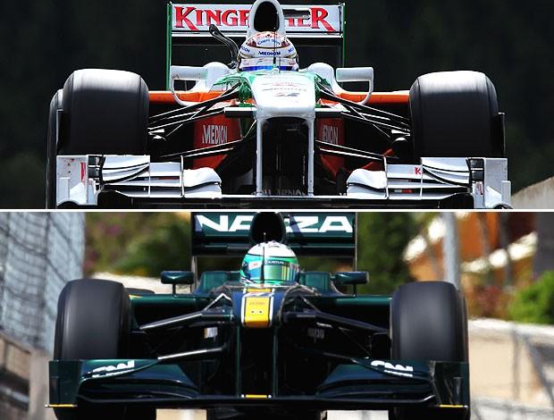 montagem carro Force India e Lotus F1 (Foto: Editoria de Arte / GLOBOESPORTE.COM)